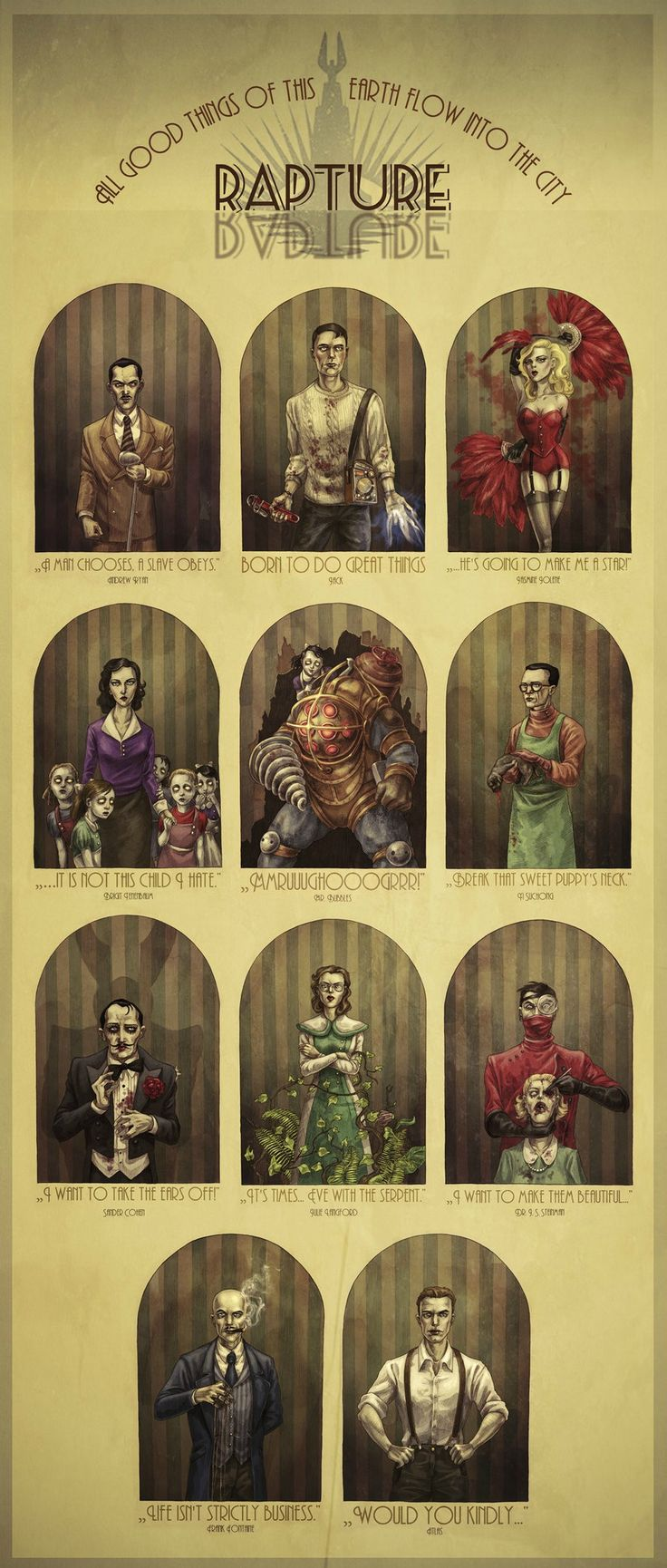 My feels about this game now.... x.x Rapture's Best and Brightest by MadLittleClown.deviantart.com on @deviantART #bioshock #gamer #geek