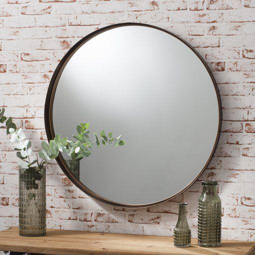 Gallery Direct Greystoke Bronze Metal Round Mirror W840 x H840mm