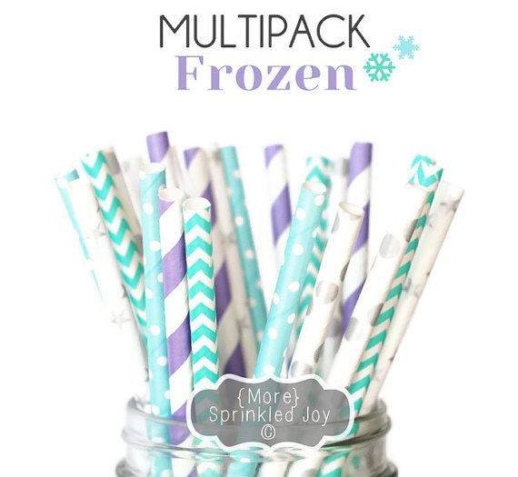 Items similar to FROZEN Multipack, Blue, Teal, Silver, Ice, Anna, Elsa, Disney, 25 Straws, in 5 Designs on Etsy
