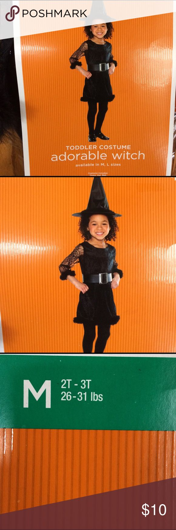 Toddler Witch Costume NWT. Size 2T-3T, 26-31 lb. Toddler Witch Costume NWT. Size 2T-3T, 26-31 lb. Comes with dress, hat, and belt.  Smoke free home. Costumes Halloween