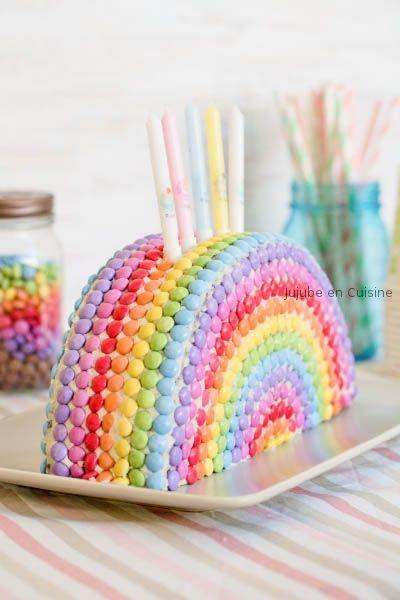Gâteau arc-en-ciel Smarties  ♥ #epinglercpartager