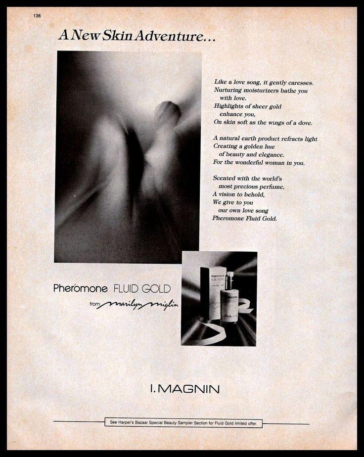 1983 Pheromone #Perfume Fluid Gold #MarilynMiglin I.Magnin #1980s #Vintage Print #Ad #Pheromone