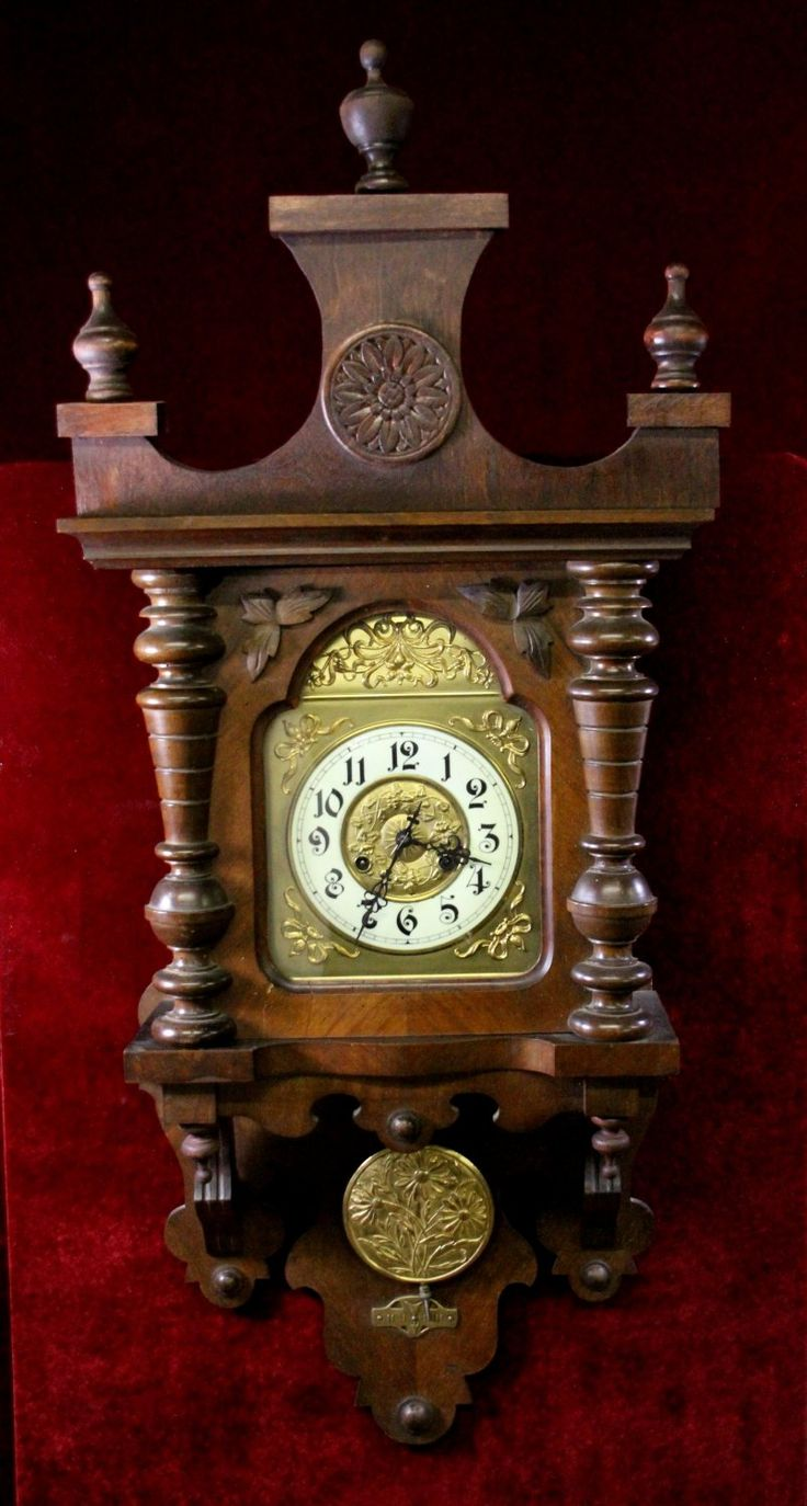 Victorian+Wall+Clock+Carved+Floral+Gold+Embossed
