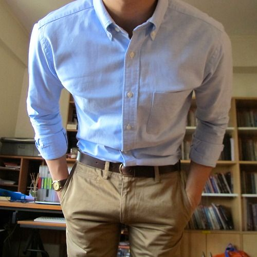 khaki's and a blue collared shirt
