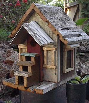 Not every bird has an architect who included steps up to the doorway! GREAT Birdhouse with a rustic cabin look as if a home in the Appalachian mountains of Tennessee where Dolly Parton grew up! #DdO:) - http://www.pinterest.com/DianaDeeOsborne/intriguing-architecture/ - INTRIGUING ARCHITECTURE... and now a MOST POPULAR RE-PIN. Notice that most edges are straight. This is not too hard for children's art project.