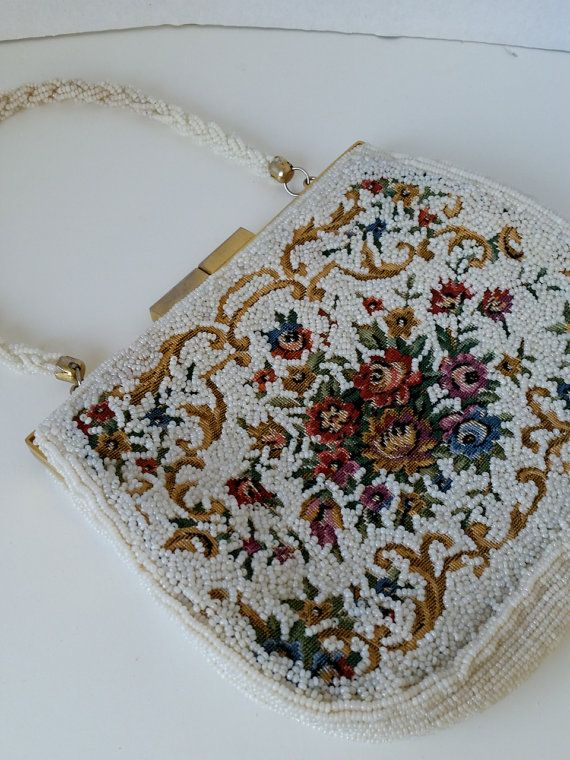 Vintage beaded tapestry purse by rippleandplum on Etsy