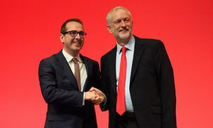 Owen Smith and Jeremy Corbyn at the Labour party conference in September 2016.
