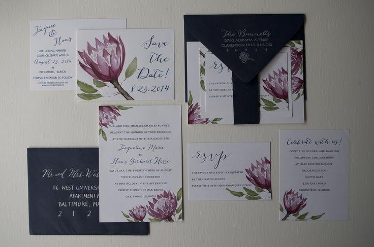 custom watercolor protea wedding invitation by chez la mariée (www.etsy.com/shop/chezlamariee)