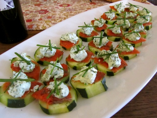 easy appetizers for a party salmon wasabi dill chive and cucumber bites for an 30686