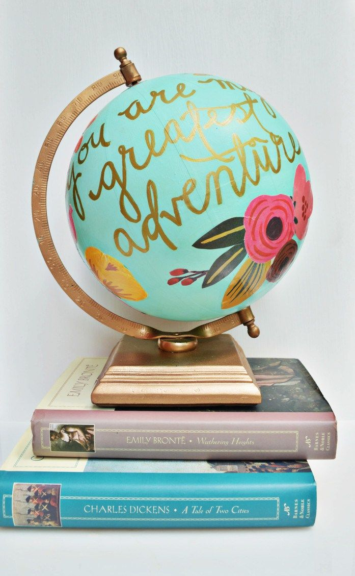 """DIY """"You are my greatest adventure"""" Anthropologie Inspired globe tutorial"""