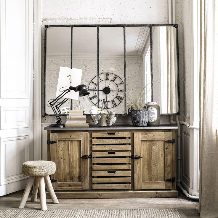 miroir indus en m tal 180x124 verri re maison du monde et miroirs. Black Bedroom Furniture Sets. Home Design Ideas