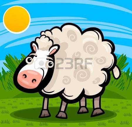 Cartoon Illustratie van Leuke Schapen Vee Dier op de boerderij