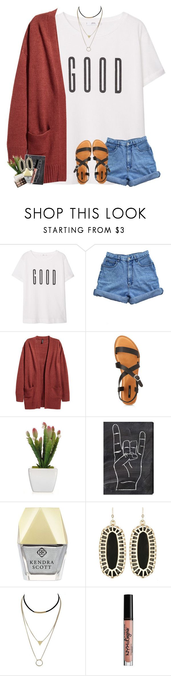 """""""goodnight gals!!!"""" by sophie-dye ❤ liked on Polyvore featuring MANGO, Bill Blass, Forever 21, Oliver Gal Artist Co., Kendra Scott, NYX and Too Faced Cosmetics"""
