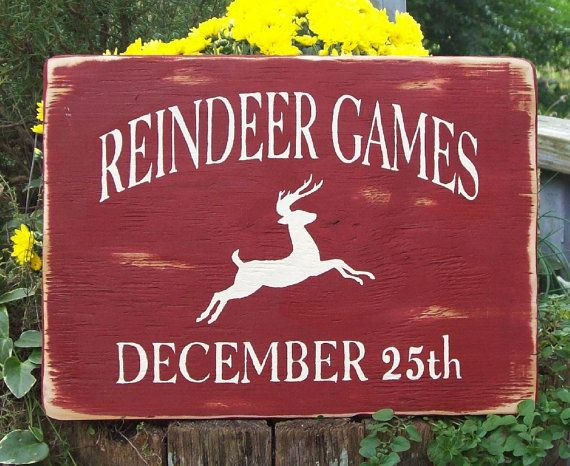 primitive Christmas sign Reindeer Gamesoriginal by TheCustomBarn, $17.99