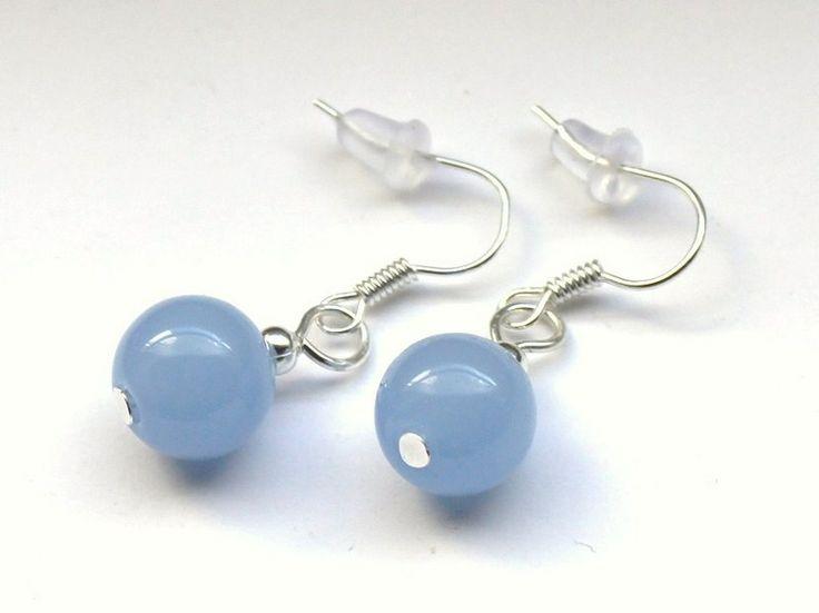 Jasnoniebieskie kolczyki ze szklanych kulek 10 mm w Especially for You! na http://pl.dawanda.com/shop/slicznieilirycznie  #kolczyki #earrings  #handmade #DaWanda