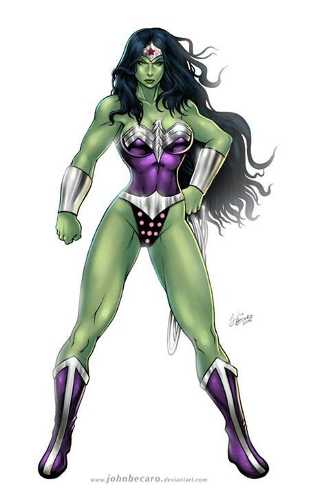 I find this quite intriguing ... The Gammazon, a Mash Up of She-Hulk and Wonder Woman by John Becaro