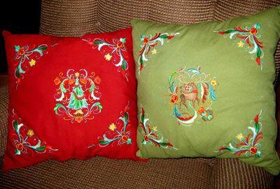 Rosemaling Christmas Pillows
