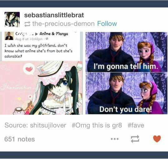 "Black butler / kuroshitsuji<< HAHAHA THIS IS THE BEST THING EVER!! >> its 'cause ""she"" is a boy :v"