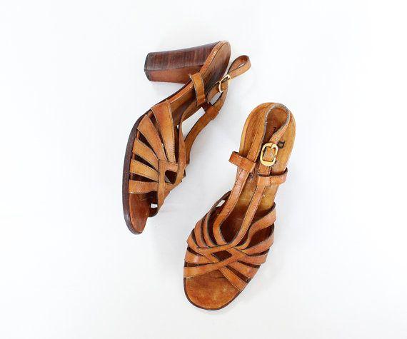 los años 70 los talones 7  sandalias de madera  por OmniaVTG