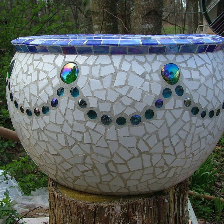 Large Mosaic Urn made from tile and glass