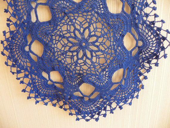 Crocheted blue doily ornament tablecloth handmade
