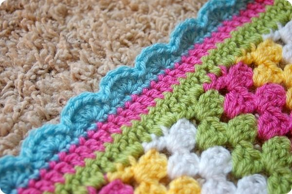 Free Crochet Pattern For Blanket Edging : Crocheting the Day Away: Granny Stripe Blanket Crochet ...