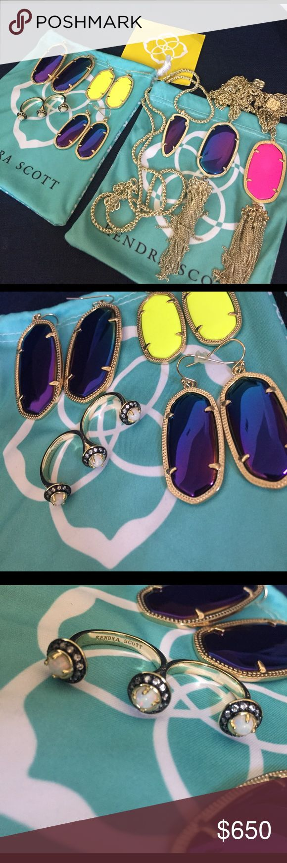 Kendra Scott Bundle - Terrific&New Condition I fell in love with KS and purchased many pieces but seem to be allergic to them so have to let them go. PRICE FIRM & LOWEST NOW - majority are rare and hard to find. Selling as a bundle only - WILL NOT SEPARATE - PLS DONT ASK. Easier this way as I already have way too many listings 🙂 All in terrific condition. 1 Pair of Danielle-black iridescent. 2 Pairs of Elle-neon yellow & black iridescent. 1 ring with Opal stones. 1 Shaylee in black…