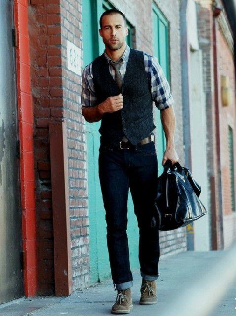 Plaid shirt under vest and jeans