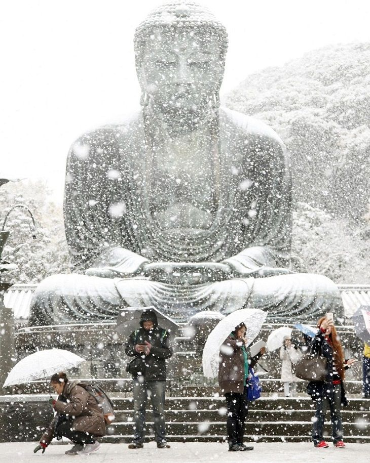 snow in Kamakura on a beautiful November day