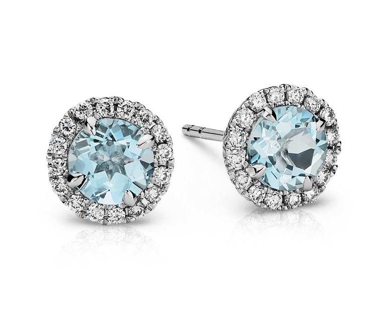Aquamarine and Micropave Diamond Earrings in 18k White Gold   #BlueNile