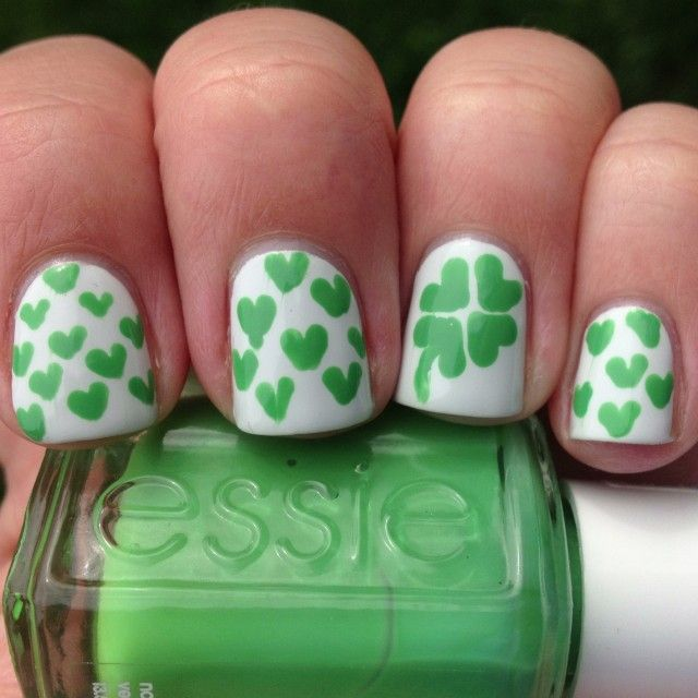 Lucky Hearts St Patrick S Day Nails