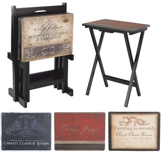 This tv tray table set combines quality and style...From durable construction to vintage decoupage tops, our Tuscan Wine TV Trays offer a lasting transitional touch for your decor. It's easier to dine in front of the TV with this home theater furniture. A stand is included for easy storage.