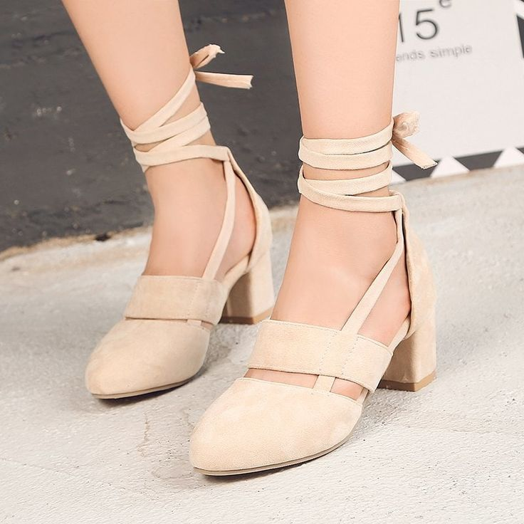 Fashion Female Ankle Strap High Heels Flock Cross Straps Chunky Heel Women'S Wedding Pumps Plus Size Ladies Shoes - BEIGE 42---$43.68