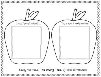 This sheet is designed as a follow-up activity after reading Shel Silverstein's, The Giving Tree.  Your students may illustrate in the given boxes or write responses, whichever you and your little authors agree to do!  Enjoy this freebie!
