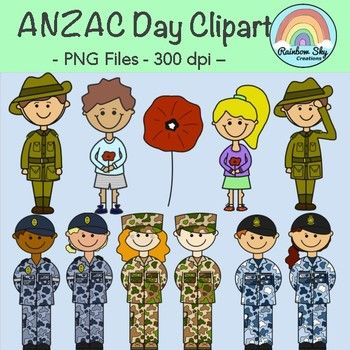 Anzac Day Clipart - 11 Graphics, colours and Black line originals. 300 dpi, PNG, Transparent backgrounds. ~ Rainbow Sky Creations ~