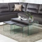 Black walnut 3-Piece Glass Side End Table Set Coffee Table Living Room Furniture