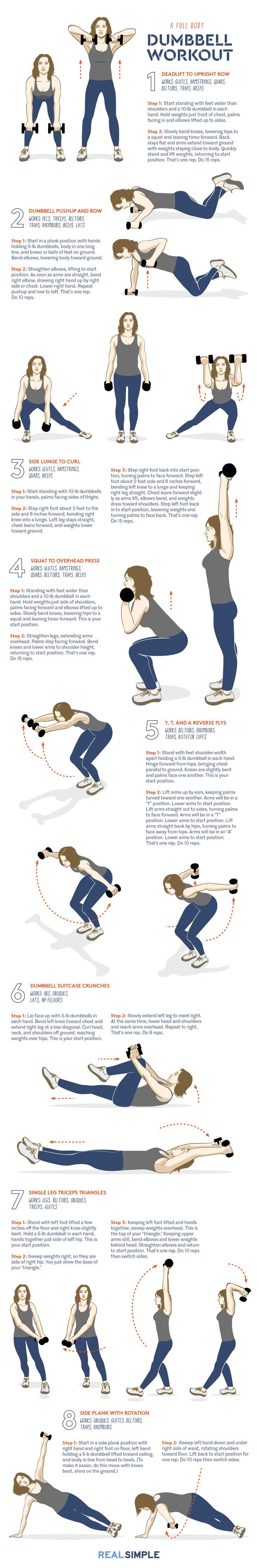 The moves call for three-, five-, and 10-pound dumbbells, but you can also work with whatever weights you have available. Do this sequence two to three times a week. Start with one set of each move. As you get stronger, do up to four rounds in a circuit. After six weeks you can expect to see improvements in strength, muscle tone, and endurance.