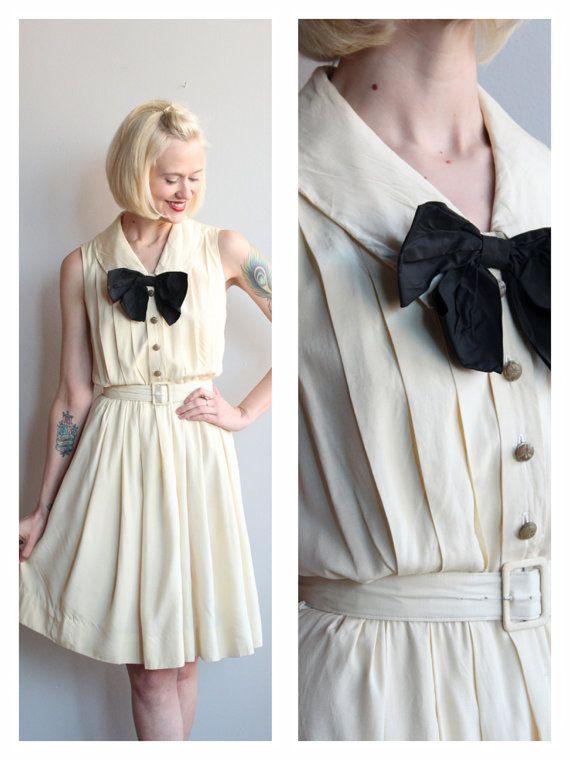 1960s Dress // Pale Yellow Dress // vintage 60s by dethrosevintage