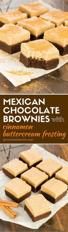 Put a twist on your chocolate craving with these Mexican Chocolate Brownies with Cinnamon Buttercream Frosting! Spicy cayenne and fragrant cinnamon give these rich brownies a south of the border twist that is truly memorable.