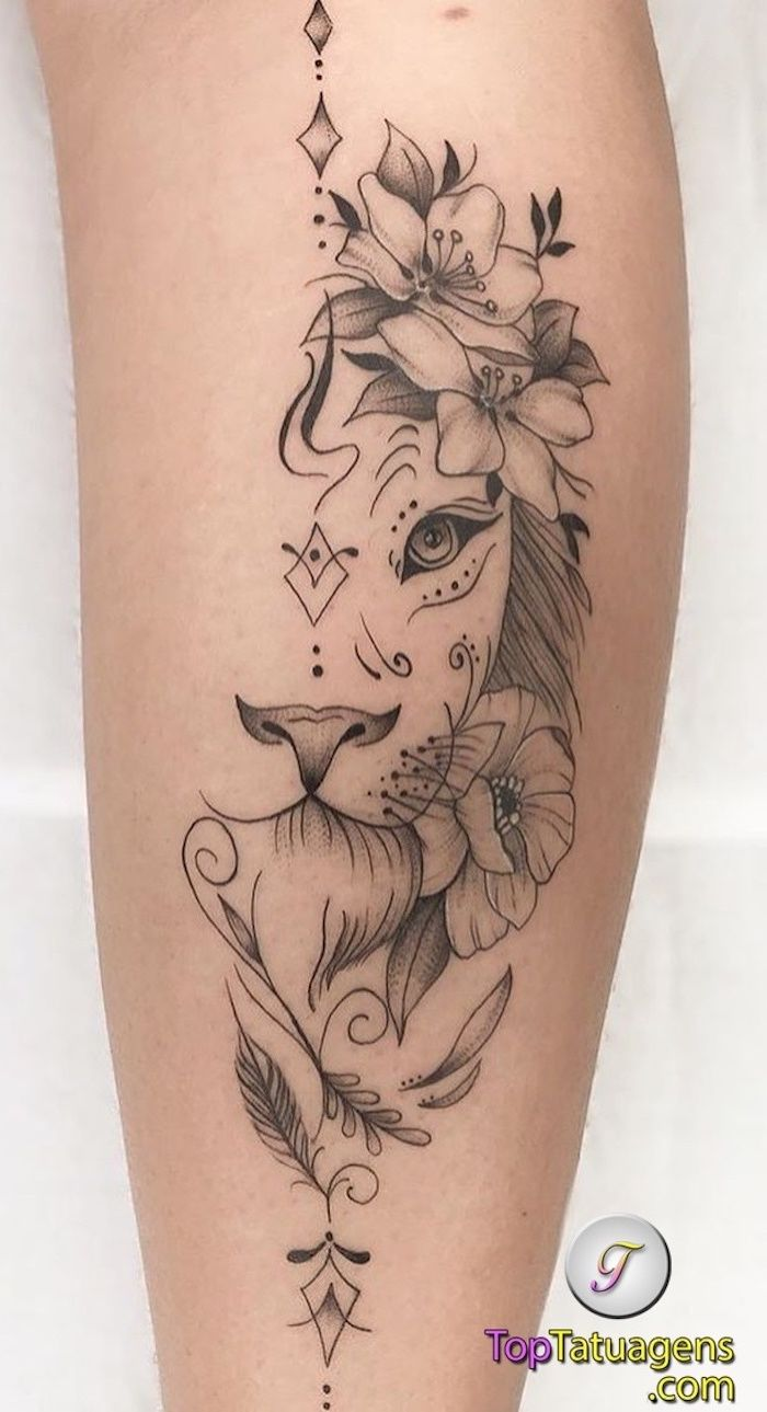 Back Of Leg Tattoo Small Lion Tattoo Half Lion Head Surrounded By Flowers White Background In 2020 Feminine Tattoos Leg Tattoos Women Girly Tattoos