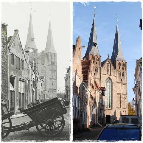 The Bergkerk then and now.