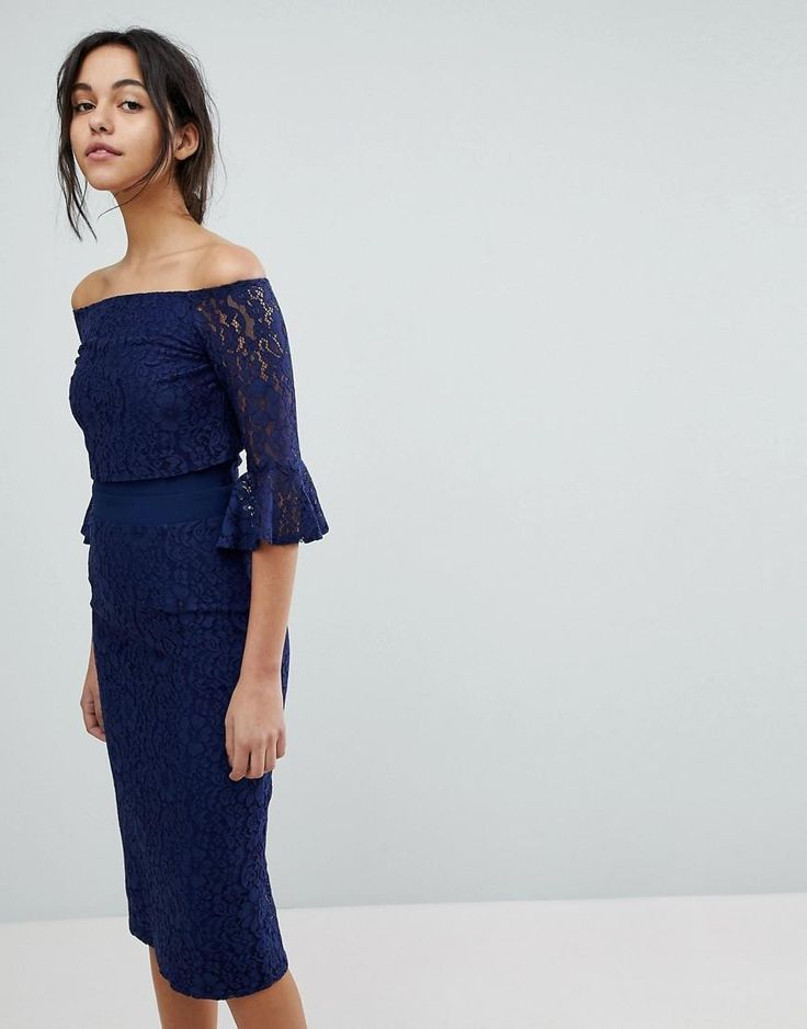 #Valentines #AdoreWe #ASOS - #Little Mistress Little Mistress All Over Lace Bardot Midi Dress With Fluted Sleeve Detail - Navy - AdoreWe.com