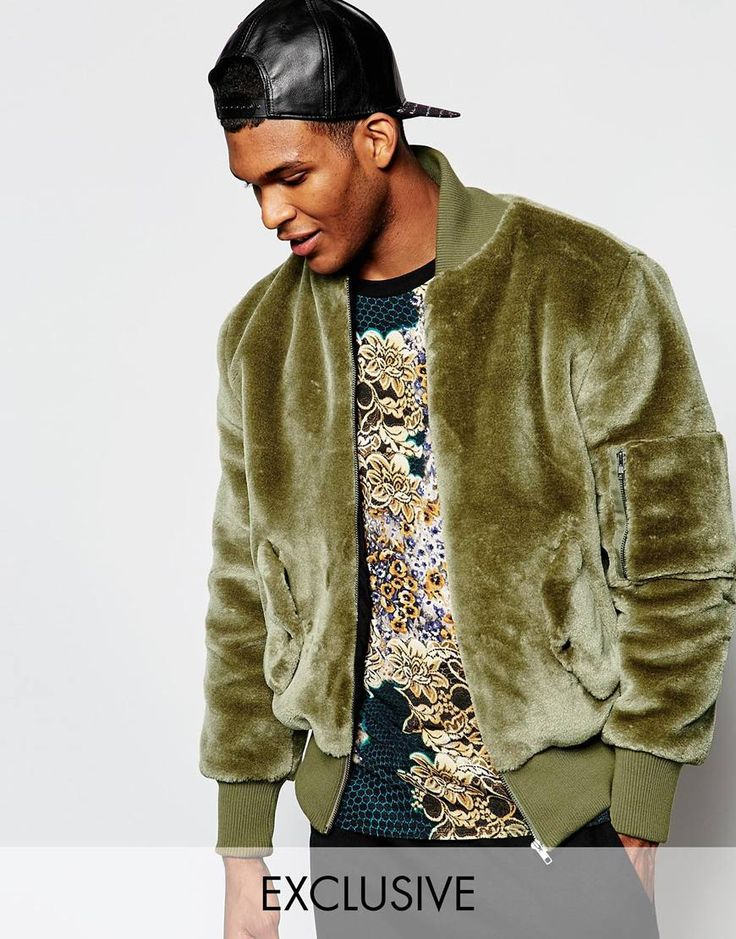 The New County Teddy Bear Bomber Jacket In Faux Fur