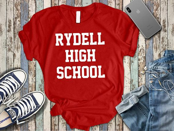 Rydell High School Funny Retro Grease Movie Dance Red Basic Women/'s T-Shirt