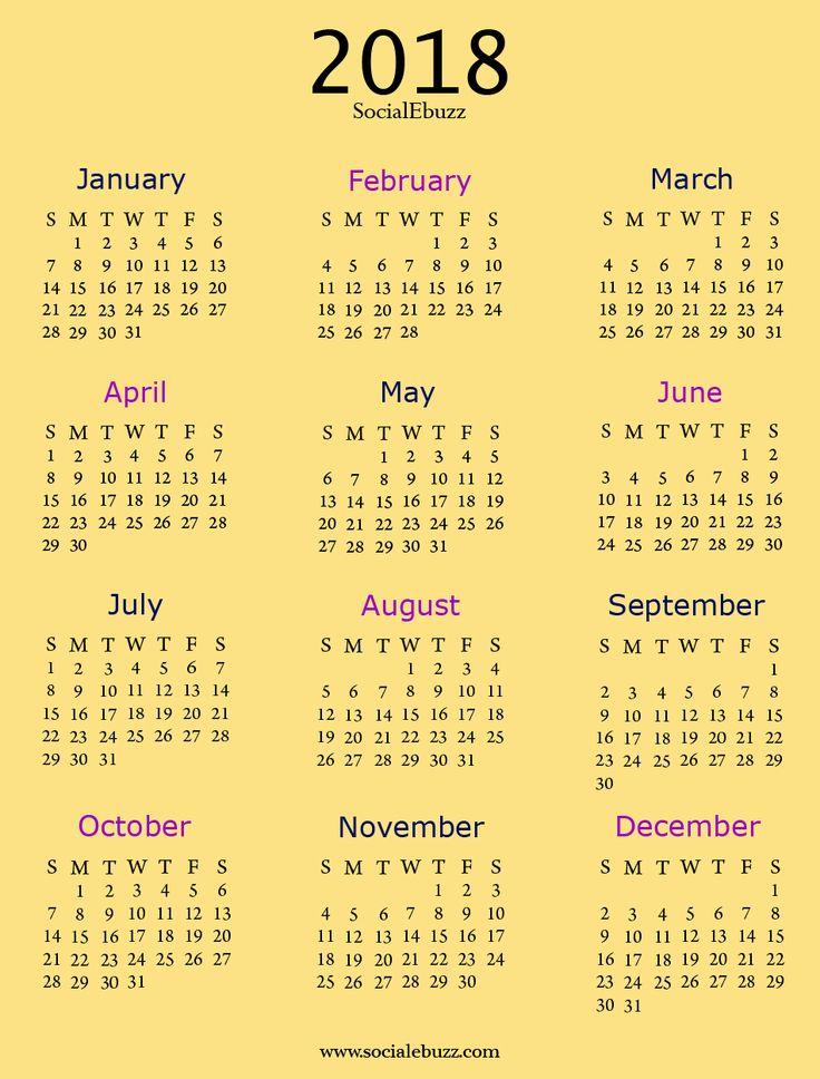 2018 Calendar with Holidays   http://socialebuzz.com/2018-calendar-printable-template/