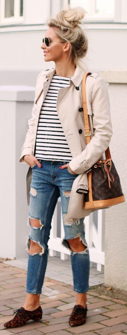 Feel+Wunderbar+Classic+Trench+On+Stripes+Fall+Inspo+#Fashionistas+