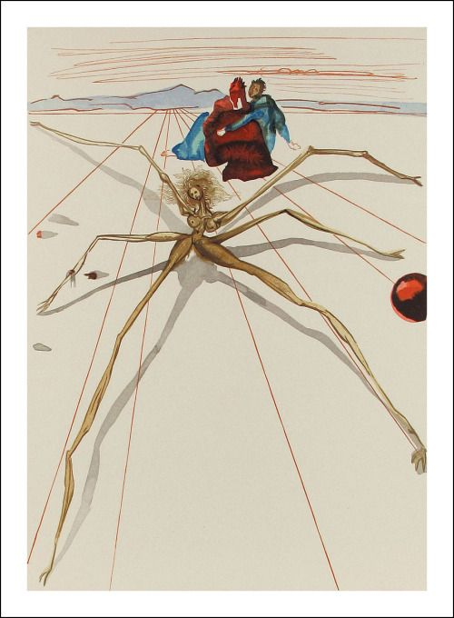 Salvador Dali, Arachne, 1951, Divine Comedy, Lithograph