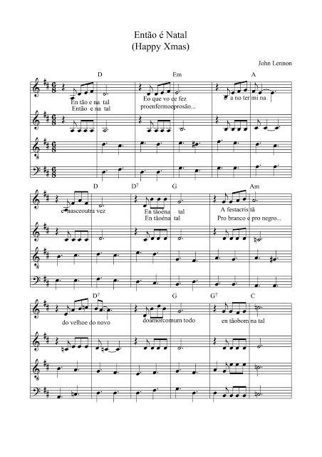 Partituras Musicais: Então é Natal - Simone - Coral - n.º 331