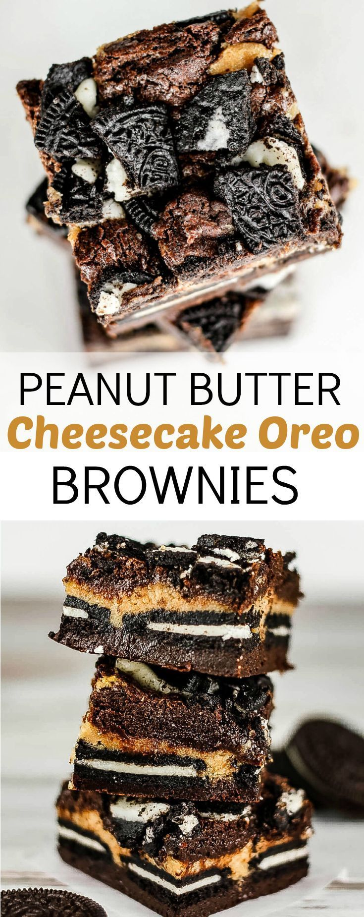 These peanut butter cheesecake Oreo brownies have five layers of brownie, cheesecake, and cookies. And they promise to be out of this world good! via @ohsweetbasil