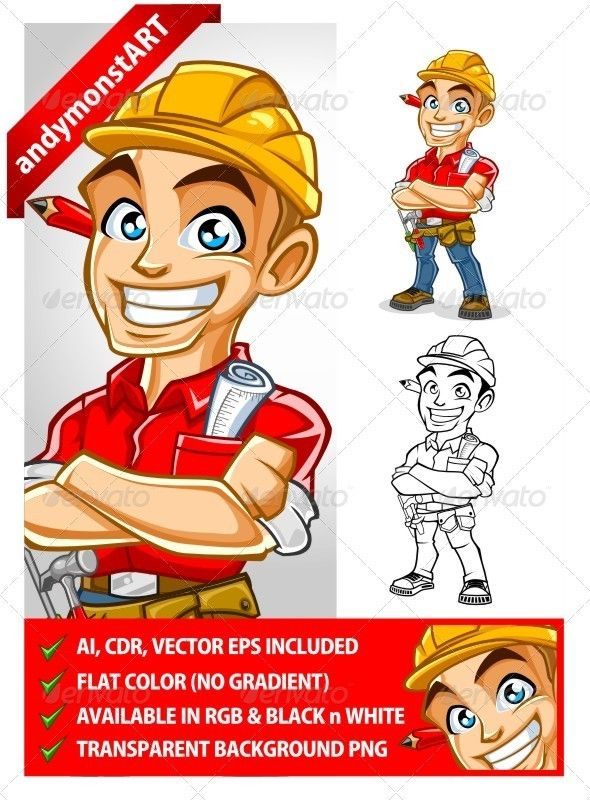 Contractor mascot  #GraphicRiver        Contractor Mascot very good for construction logo & for presentating construction project etc. note   AI, CDR , VECTOR EPS  included    Flat color (no gradient)    Available in RGB & Black n White    Transparent Background PNG       Created: 29August12 GraphicsFilesIncluded: TransparentPNG #VectorEPS #AIIllustrator Layered: Yes MinimumAdobeCSVersion: CS3 Tags: